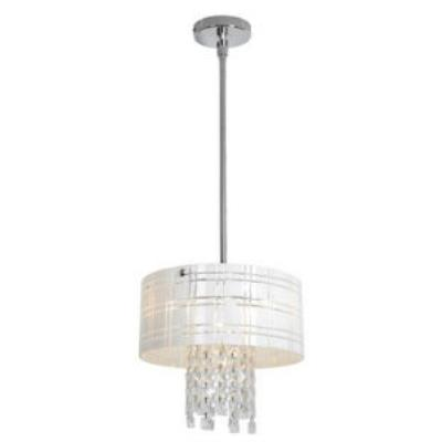Access Lighting 50972-CH/WH Kalista - Four Light Cylinder Pendant with Crystal Drop