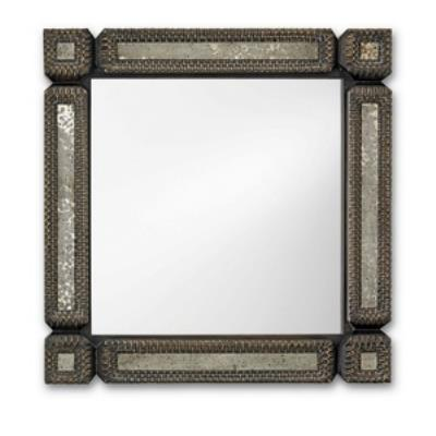 Currey and Company 1053 Tramp Art - Square Mirror