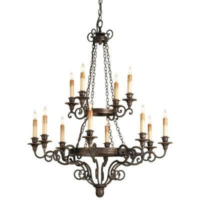 Currey and Company 9682 Galleon - Twelve Light 2-Tier Chandelier