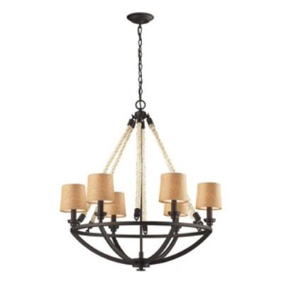 Elk Lighting 63016-6 Natural Rope - Six Light Chandelier