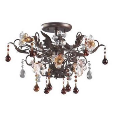 Elk Lighting 7044/3 Cristallo Fiore - Three Light Semi Flush Mount