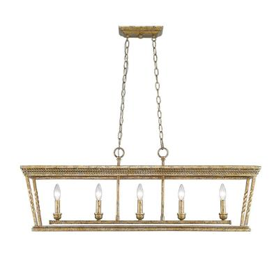 Golden Lighting 4214-LP LG Davenport LG - Five Light Linear Pendant