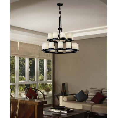 Justice Design FSN-8767 Dakota 21-Light 2-Tier Ring Chandelier
