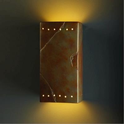 Justice Design 0965W Large Rectangle W/ Perfs Open Top and Bottom Outdoor Sconce