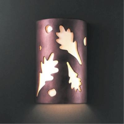 Justice Design 5460W Small Oak Leaves Closed Top Outdoor - ADA Sconce