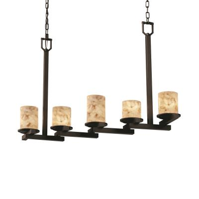 Justice Design ALR-8787 Alabaster Rocks - Five Light Zig-Zag Dakota Chandelier