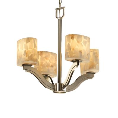 "Justice Design ALR-8970 Alabaster Rocks - 21.25"" Four Light Chandelier"