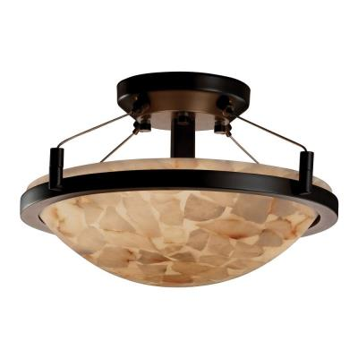 Justice Design ALR-9680 Alabaster Rocks - Two Light Round Semi-Flush Mount with Ring