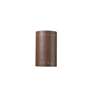 Justice Design 0995W Small Cylinder W/ Perfs Open Top and Bottom Outdoor Sconce