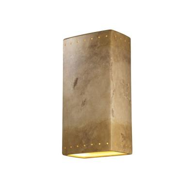 Justice Design CER-1185W Ambiance - Two Light Large Rectangle Perforated Wall Sconce with Open Top and Bottom