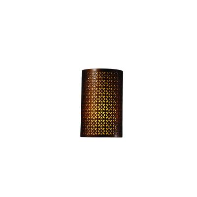 Justice Design 7815W Small Cylinder W/ Overall Floral Outdoor Sconce