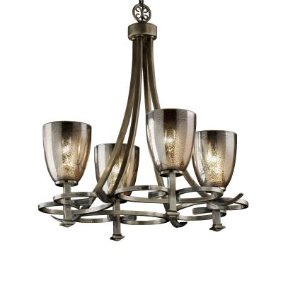 "Justice Design FSN-8560 Fusion - 24"" Four Light Chandelier"