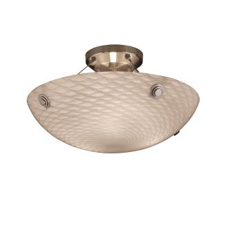 "Justice Design FSN-9651 18"" Semi-Flush Bowl w/ Pair Cylindrical Finials"