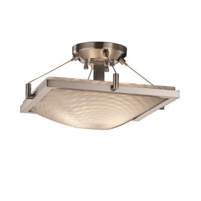 """Justice Design FSN-9780 14"""" Square Semi-Flush Bowl w/ RING"""