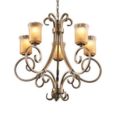 Justice Design GLA-8570 Victoria 5-Uplight Chandelier