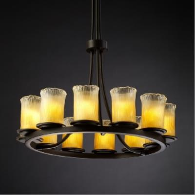 Justice Design GLA-8763 Dakota - Twelve Light Tall Ring Chandelier