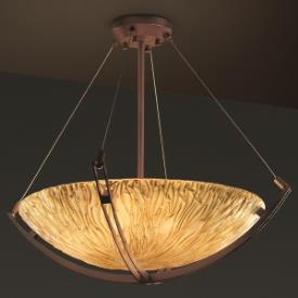Justice Design GLA-9721 Veneto Luce - Three Light Bowl Pendant with Crossbar