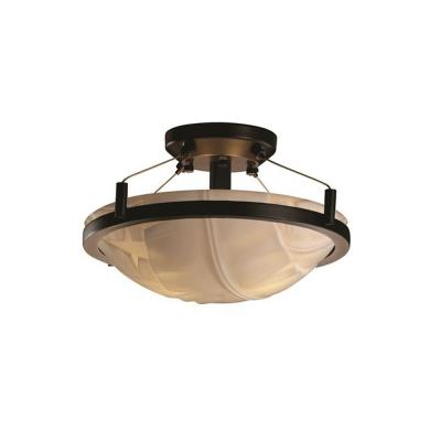 Justice Design PNA-9680 Porcelina - Fourteen Inch Round Semi-Flush Mount with Ring
