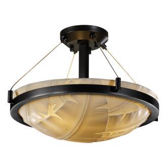 Justice Design PNA-9681 Porcelina - Three Light Round Semi-Flush Mount with Ring