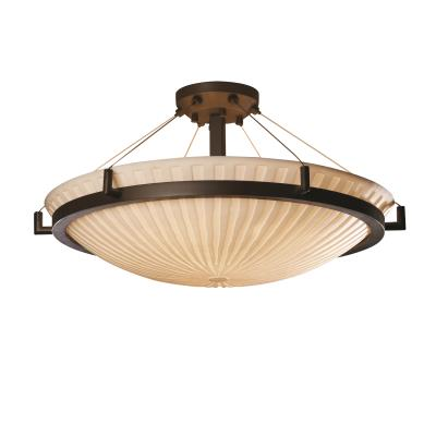Justice Design PNA-9684 Porcelina - Eight Light Round Semi-Flush Mount with Ring