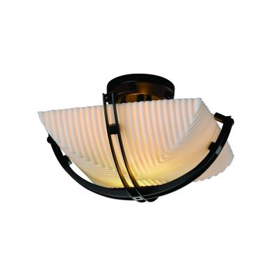 Justice Design PNA-9710 Porcelina - Two Light Semi-Flush Mount with Crossbar