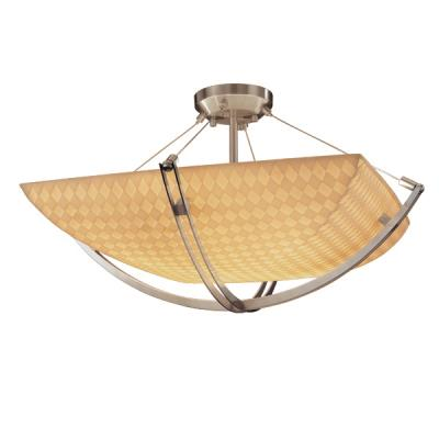 Justice Design PNA-9711 Porcelina - Three Light Semi-Flush Mount with Crossbar