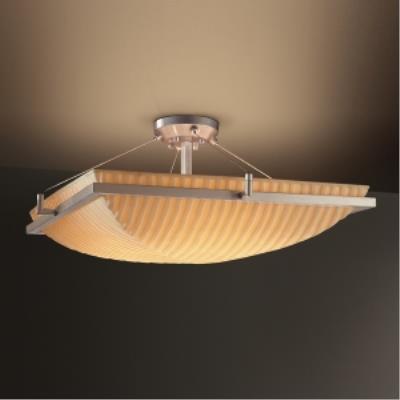 Justice Design PNA-9782 Porcelina - Six Light Square Semi-Flush Mount with Ring