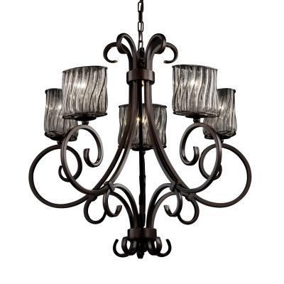 Justice Design WGL-8570 Victoria 5-Uplight Chandelier