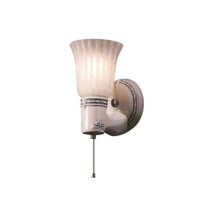 Justice Design 7131 Vintage Round W/ Uplight Glass Shade Wall Bracket