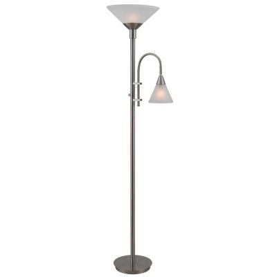 Kenroy Lighting 32234BS Brady - Two Light Torchiere with Reading Arm