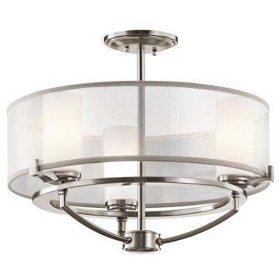 Kichler Lighting 42923CLP Saldana - Three Light Semi-Flush Mount