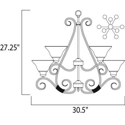 Maxim Lighting 2658 Pacific - Nine Light 2-Tier Chandelier