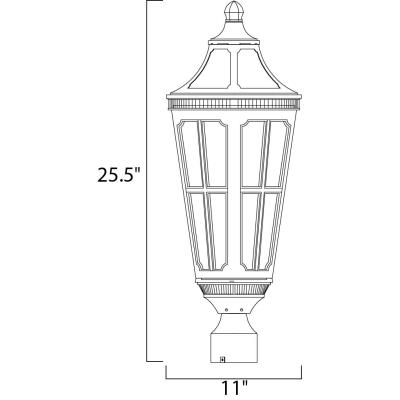 Maxim Lighting 40150CDSE Beacon Hill VX - Three Light Outdoor Pole/Post Mount