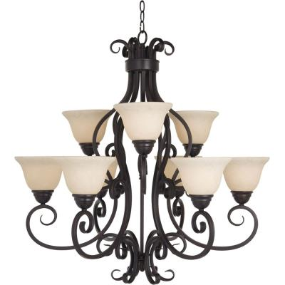 Maxim Lighting 12207FIOI Manor - Nine Light Two Tier Chandelier
