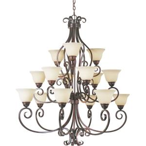 Manor - Fifteen Light Three Tier Chandelier