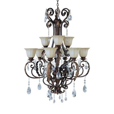 Maxim Lighting 13566CFAF/CRY080 Augusta - Nine Light 2-Tier Chandelier