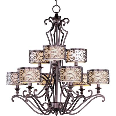Maxim Lighting 21156WHUB Mondrian - Nine Light 2-Tier Chandelier
