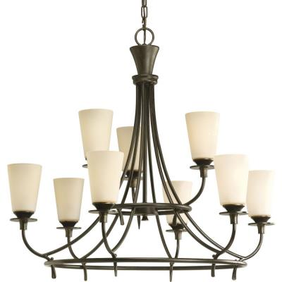 Progress Lighting P4039-77 Nine-Light, Two-Tier Chandelier Fixture - Chandelier
