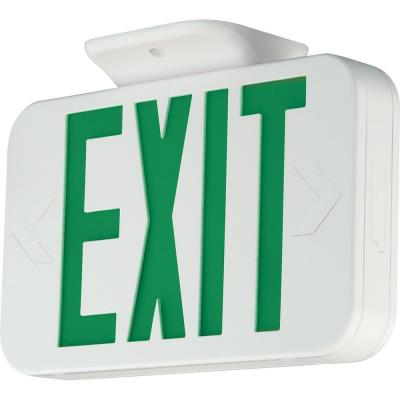 Progress Lighting PE009-30 Exit Sign with Green Colored Letters