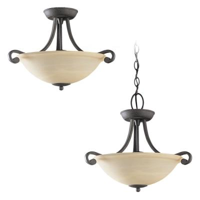 Sea Gull Lighting 59159BLE Serenity - Three Light Close to Ceiling Flush Mount
