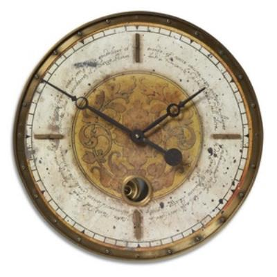 """Uttermost 06006 Leonardo - 18"""" Script Round Wall Clock"""