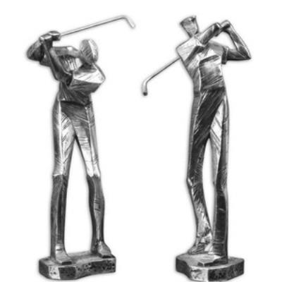 "Uttermost 19675 Practice Shot - 16"" Metallic Statues (Set of 2)"