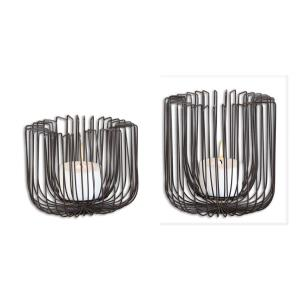 """Flare - 8.25"""" Wire Candleholder (Set of 2)"""