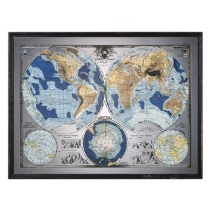 "Mirrored World Map - 54.88"" World Map"