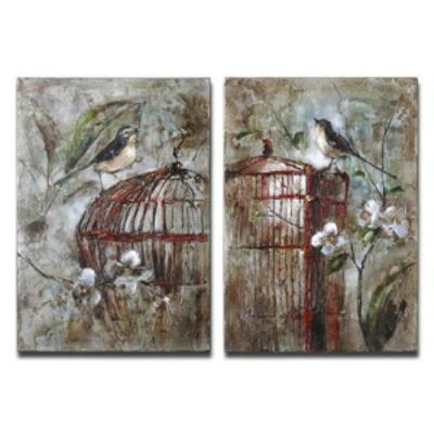 "Uttermost 34226 Birds In A Cage - 26"" Bird Wall Art (Set of 2)"