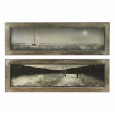 "Uttermost 35232 15"" Twilight Sail Frame Decorative Art (Set of 2)"