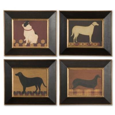 """Uttermost 41308 Good Dog - 13"""" Wall Art (Set of 4)"""