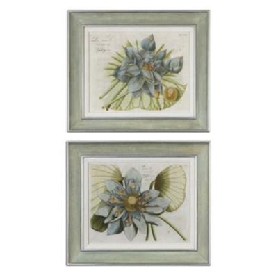 Uttermost 41325 Blue Lotus Flower I, II - Decorative Artwork (Set of Two)
