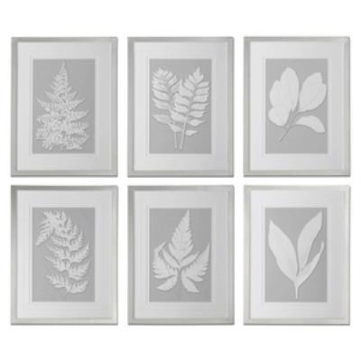"Uttermost 41394 Moonlight Ferns - 26"" Decorative Wall Art - (Set of 6)"