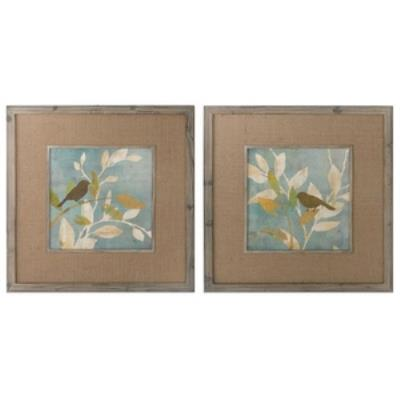 """Uttermost 41395 Turquoise Bird Silhouettes - 32"""" Decorative Wall Art - (Set of 2)"""
